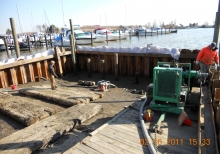 Installation of coffer dam and dewatering at Havre de Grace