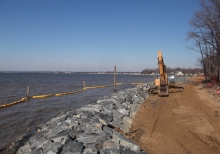 Building rock sills and beach replenishment