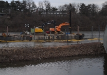 Locating damaged mooring piles under water, extraction & replacement using GPS positioning  Which required setting pipe pile in grouted rock socket.  Then filling pile with grout using tremme method.